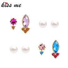 KISS ME 4 Pairs / Set Women Earrings Korean Fashion Acrystal Crystal Stud Earrings Imitation Jewelry Accessories(China)