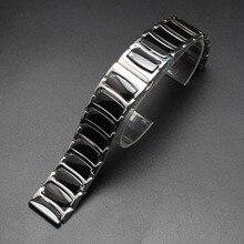 20 мм 22 мм высокое качество популярных ремешки Черной Керамики Из Нержавеющей стали Ремешок Для Часов Ремешок Браслеты наручные браслеты