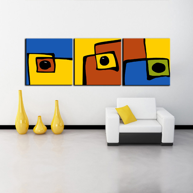 Superbe 3 Panel Wall Art Abstract Geometry Canvas Painting HD Prints Art Home Office  Decorative Picture