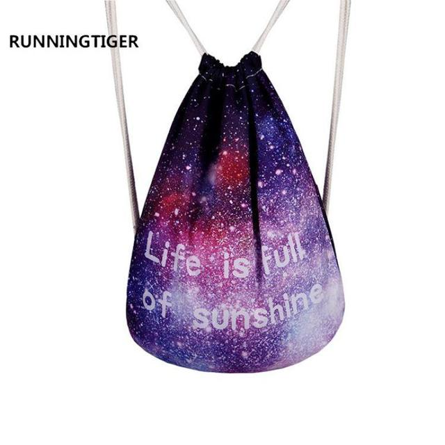 Runningtiger Galaxy Space Printing Backpack Brand Drawstring Bag String  Canvas Bags Travel Pouch Softback 2017 New
