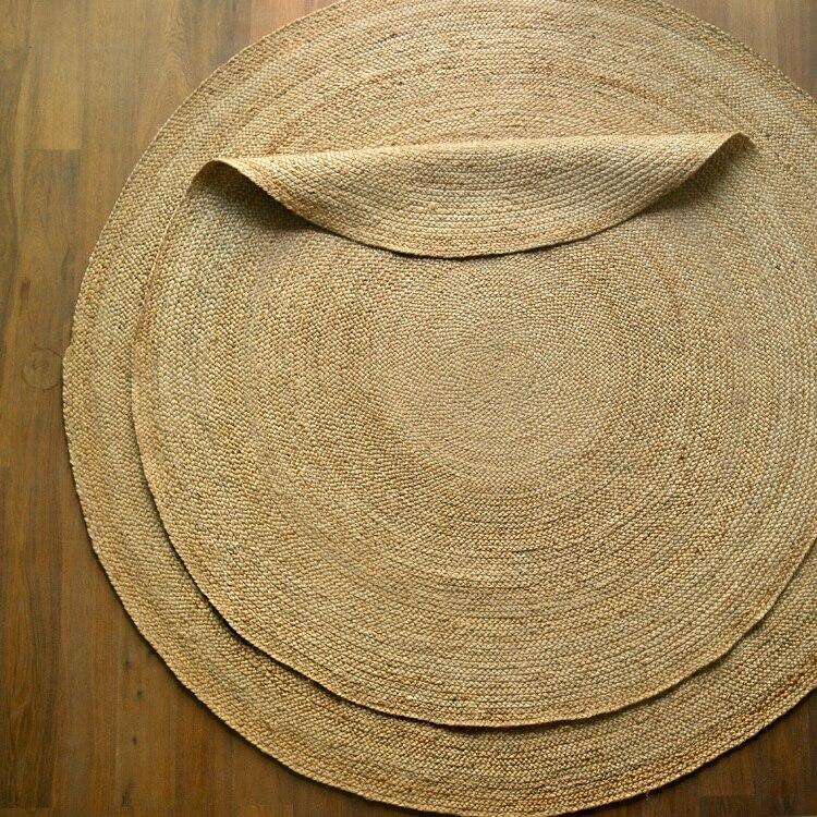 Inde importé Jute tissé rond tapis maison salon Table basse Simple nordique Homestay vent tapis maison décorateur plancher tapis