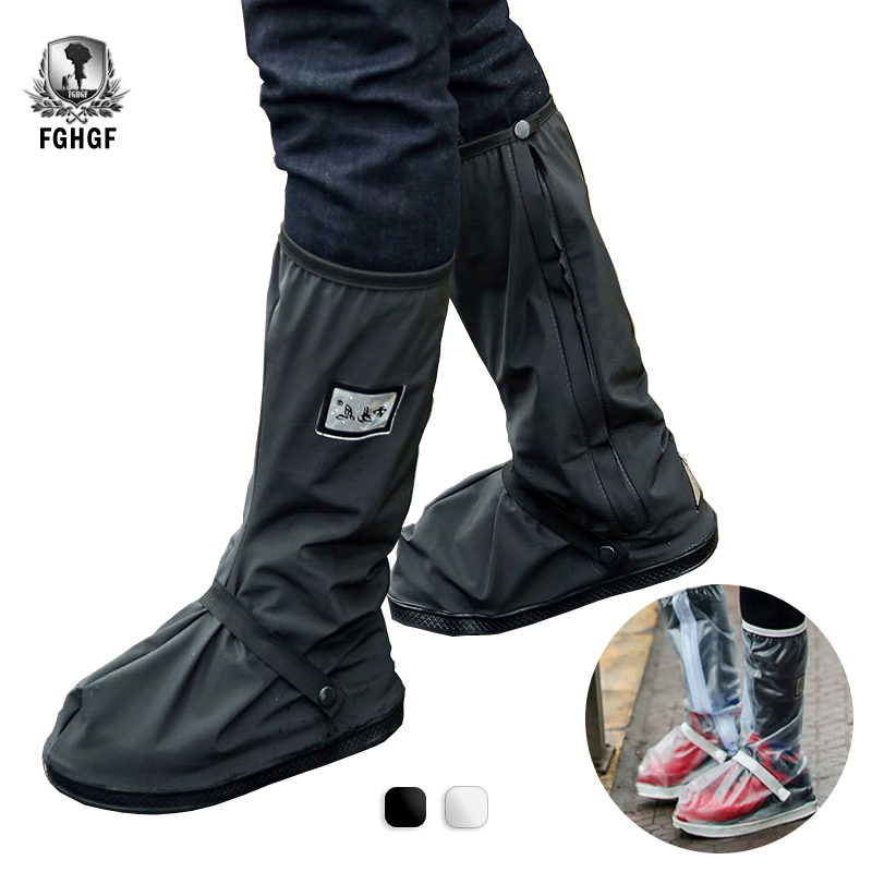 FGHGF Black Transparent Waterproof Rain Shoe Cover Outdoor Motorcycle Cycling Bike Men Women Reusable Overshoes Boots Protector