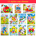 11 Styles Can Choose Handmade DIY Cartoon Animal 3D EVA Self-adhesive Foam Sticker Puzzle Early Learning Education Toys Kids