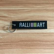 High quality for RALLIART emblem embroidery nylon Car key ring for Mitsubishi lancer evolution EVO asx keychain accessories цена
