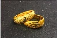 Мода Пара Lucky Кольца/Твердые 999 24 К желтый золотой дракон и Феникс Кольца 16.8 г