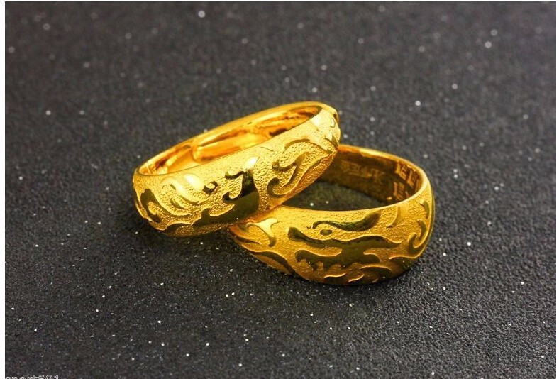Fashion A Pair of Lucky Rings / Solid 999 24K Yellow Gold Dragon & Phoenix Rings 16.8g a suit of geometric leaf cuff rings