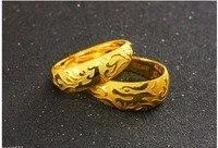 Moda Una Coppia di Lucky Anelli/Solido 999 24 K Yellow Gold Dragon & Phoenix Anelli 16.8g