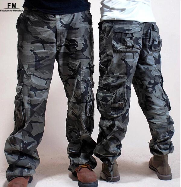 New 2014 Hot Baggy Camouflage Cargo pants Women Couples Side Pocket Plus Size army Military Outdoors XL XXXL Khaki Pants