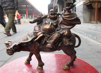 Chinese Folk Carved Red Bronze Maitreya Buddha Ride On Bull statue FREE Shipping
