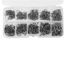 Fishing 500pcs 10 Sizes 3#-12# 1-1.8cm Black Silver Fish Fishing Sharpened Hooks Box Tackle Practical Lures Deep Diving Lure