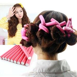 10 unids/set de esponja de rodillo de espuma suave y flexible, palo de pelo, rizadores de espiral, giro y barras flexibles, accesorio DIY para mujer, colores aleatorios