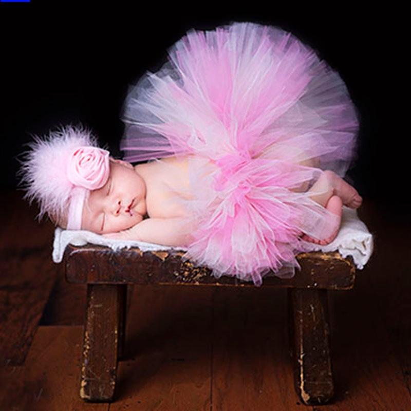 Super-Sweet-Pink-and-Ivory-Precious-Newborn-Tutu-and-Flower-Headband-Set-Baby-Photography-Props-Girls-Tutu-Skirt-TS028-2