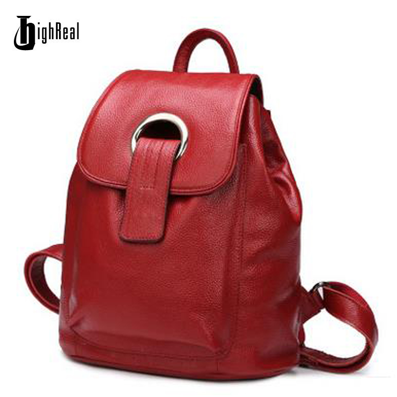 HIGHREAL Backpack Nautral Soft Real Leather Backpacks Genuine First Layer Cow Leather Top Layer Cowhide Women Backpack Tote Bags цена 2017