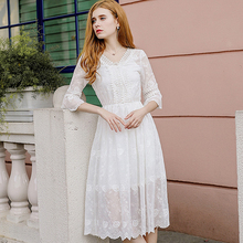 AcFirst Summer White Chiffon Lace Women Long Dresses Halter Holiday Sexy Plus Size Sundress Sweet Bodycon Perspective
