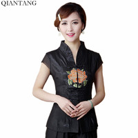 Hot Sale Black Vintage Chinese Women S Blouse Mujeres Camisa Satin Embroidery V Neck Shirt Top