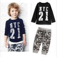 New Spring Autumn Boy's Clothing Cotton Sets Sport Pullover Set Fashion Kid 2pic Suits Set Toddler letter Tracksuit baby