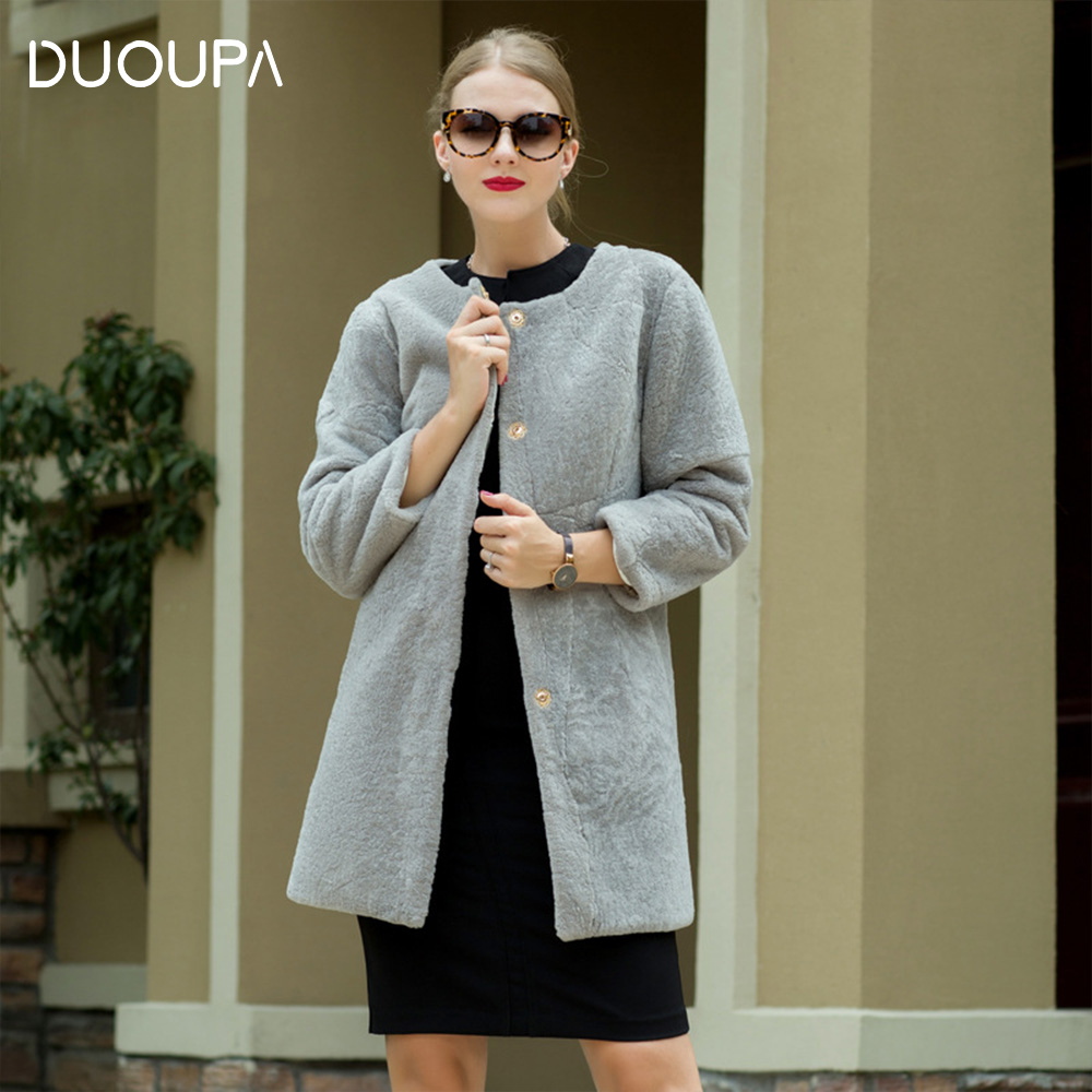 DUOUPA Winter new sheep shearing fur coat long O-Neck wool nine-point sleeve Real  Fur Coat Womens real Jacket