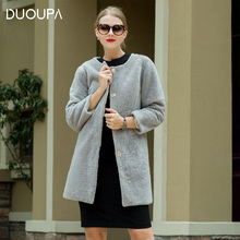 DUOUPA Winter new sheep shearing fur coat long O-Neck wool nine-point sleeve Real  Fur Coat Womens real Jacket