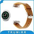 20mm de cuero genuino reloj band + adaptadores para samsung gear s2 SM-R720/R730 Crazy Horse Correa de Pulsera de La Correa de Liberación Rápida marrón