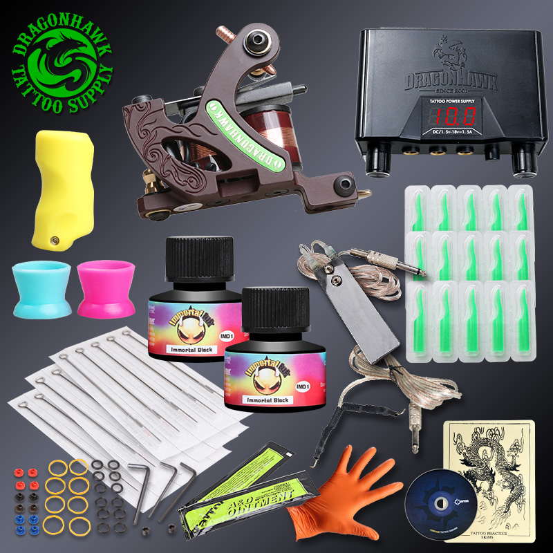 Professional Complete Tattoo kits With Lining Machine Tattoo Guns Sets Immortal Ink Disposable Tips Power Supply professional tattoo kits liner and shader machines immortal ink needles sets power supply