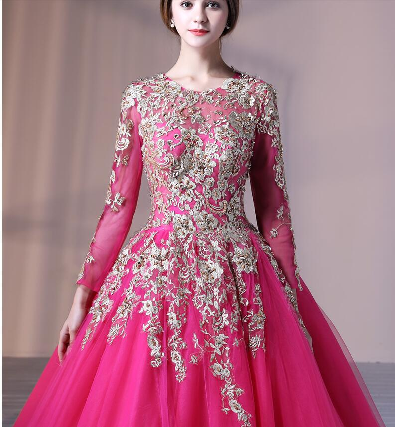 Gold Fuchsia 2017 Arabic Ball Gown Prom Dresses With Long Sleeves ...
