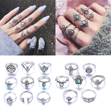 16 Pcs/Set Boho Mermaid Tail Compass Lotus Water Drop Flower Leaf Crown Midi Ring Set Crystal Joint Knuckle Rings Jewelry Anillo