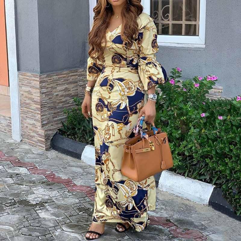 32edb9e85d22e 2019 Printed Maxi Dress Women V Neck Luxury Vintage Ladies African ...