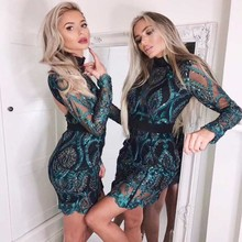 factory wholesale 2019 New dress Green lace long sleeves Fashion sexy perspective celebrity party (H2225)