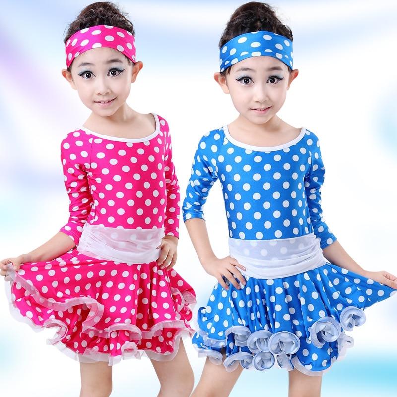 e8a4fc1c3 Polka Dot Print Latin Dance Dress For Girls Samba Dress Kids ...