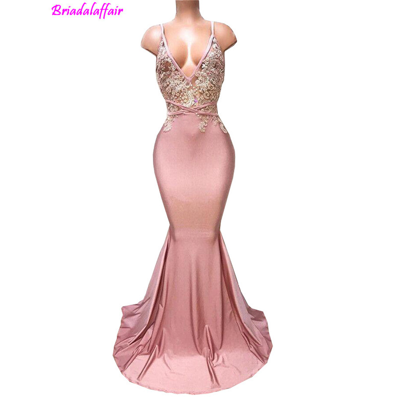 Sexy Backless Dusty Pink 2018 New Mermaid Spaghetti Appliqued Beaded Long Train Party Gowns Custom Made Occasion   Prom     Dresses