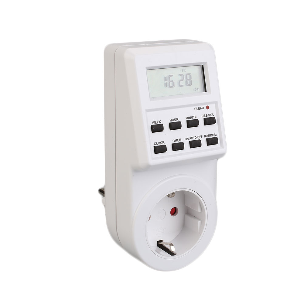 Digital EU Plug-In Programable Timer Timing On/Off Switch Socket Time Clock charge protection device push button switch timer electronic automatic power down time timing switch socket
