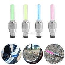 2Pcs Bike Lights Bicycle Tyre Tire Valve Caps Wheel Spokes LED Light 4 Color JUN08
