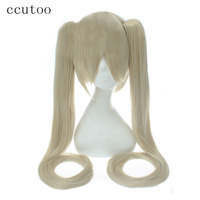 Ccutoo Vocaloid Hatsune Miku Blonde Synthetic Hair Heat Resistance Cosplay Hair Wigs With 2 120cm Chip