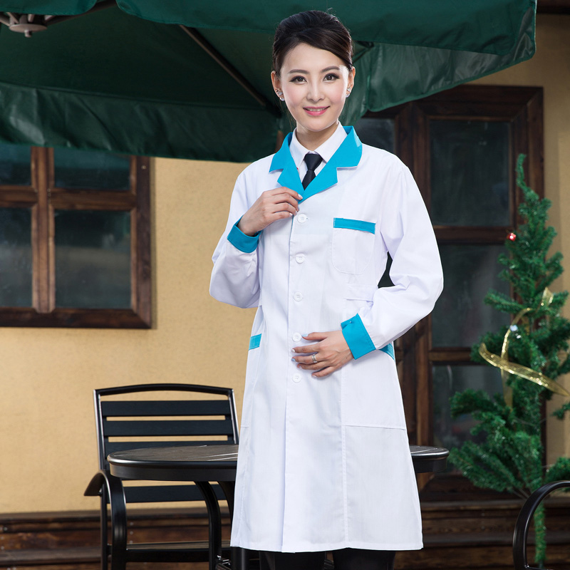 Men and women doctor clothes autumn and winter long - sleeved physician white coat experiment coat hospital medical nurse suit