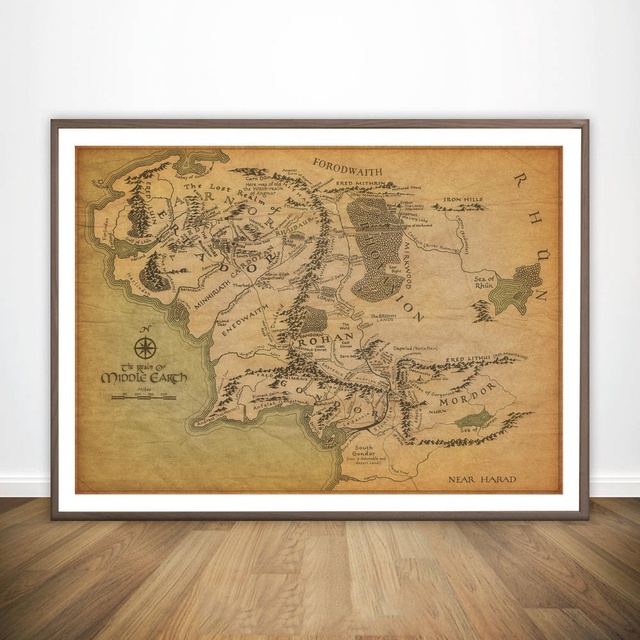 Map Of Middle Earth Map The Lord Of The Rings Movie Wall Art Paint ...