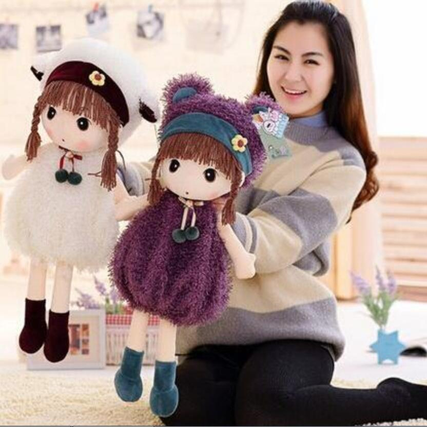 45cm Hot Sell Fashion Girl Doll Soft Toy Lovely Figure Stuffed Plush Toy Girl Kids Childrens day Gift Super Quality