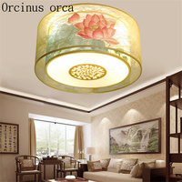 Classic new Chinese style led ceiling lamp living room dining room bedroom study antique round fabric ceiling lamp