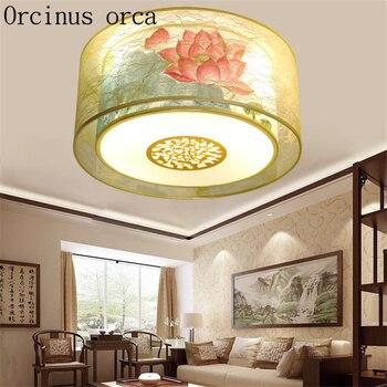 Novo clássico estilo Chinês conduziu a lâmpada do teto sala de estar sala de jantar quarto estudo antigo rodada lâmpada do teto de tecido