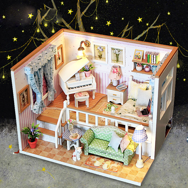 Funny LED Living Room DIY Doll House With Dust Cover