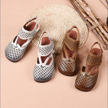 RUSHIMAN retro Style Women Sandals Genuine Leather Women's Flat shoes Soft Sole Non-Slip Hollow Summer Shoes Woman