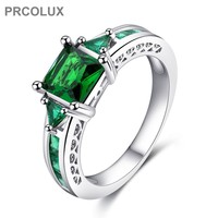 PRCOLUX Fashion Female Princess Cut Ring 925 Sterling Silver Jewelry Green CZ Wedding Engagement Rings For