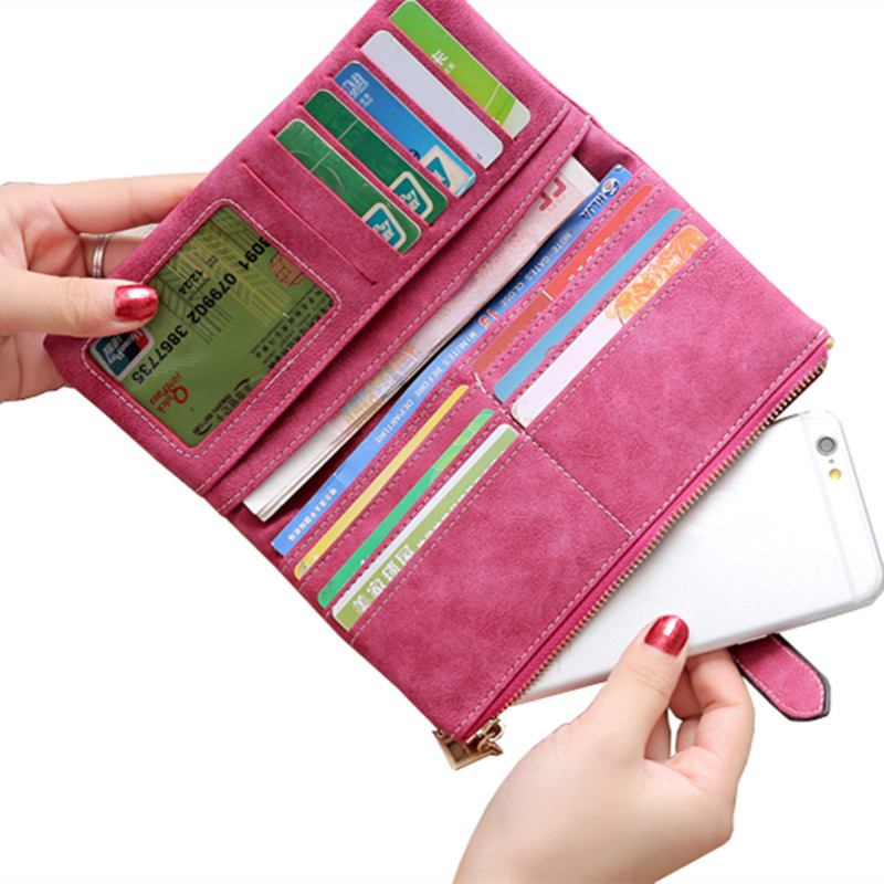 2018 Solid Drawstring Nubuck Leather Zipper Long Women Wallet Phone Bag Luxury Brand Wallets Designer Purse Card Holder Clutch 3