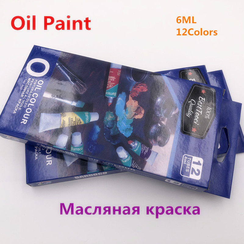 Professional Oil Colors Paints Fine Painting Art Supplies 12 Colours 6 ML Tube Offer 1 Brush For Free