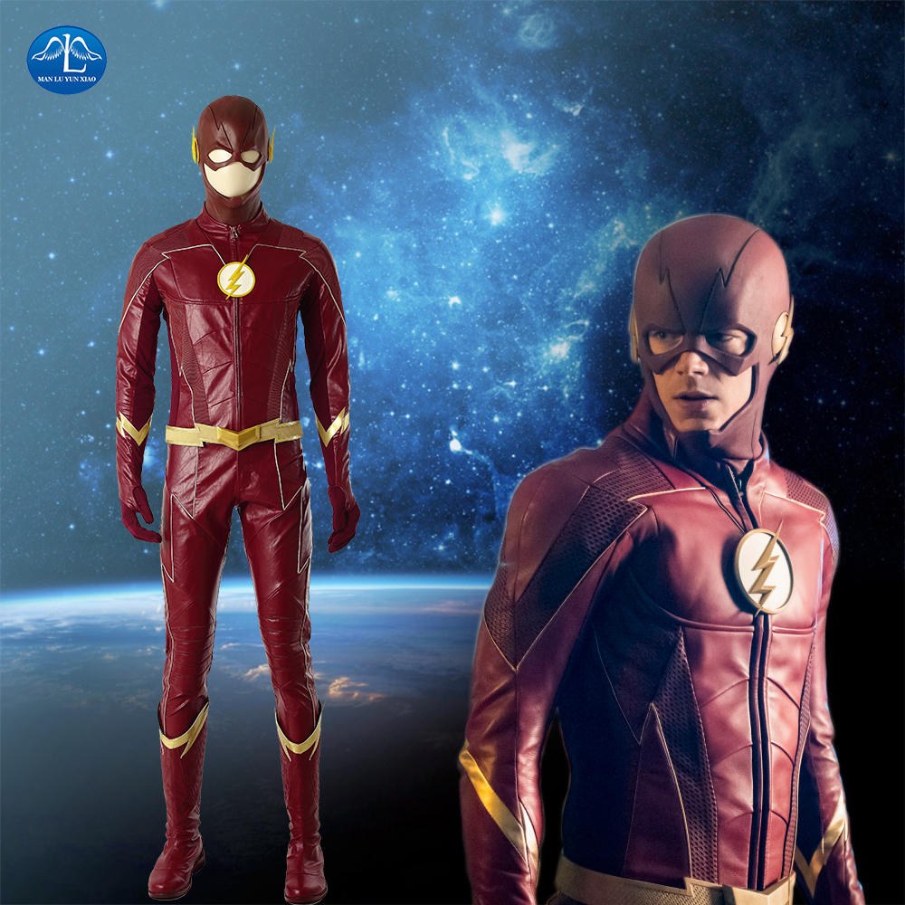 New The Flash Season 4 Barry Allen Flash Cosplay Costume Carnival Halloween Costumes For Adult Men Flash Costume Red Leather Set