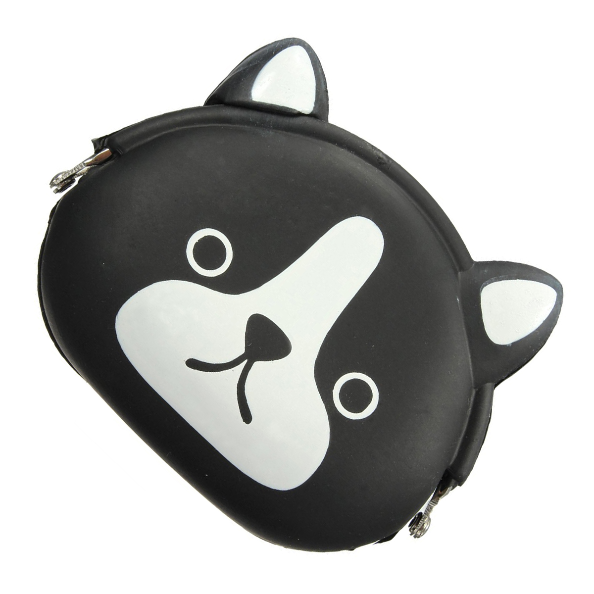 Women Girls Wallet Kawaii Cute Cartoon Animal Silicone Jelly Coin Bag Purse Kids Gift Black dog