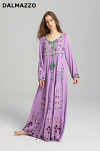 DALMAZZO 2018 Spring Newest Women Loose Waist V Neck Drawstring Tie Long Sleeve Long Dresses Embroidery Bohemian Cotton Dress