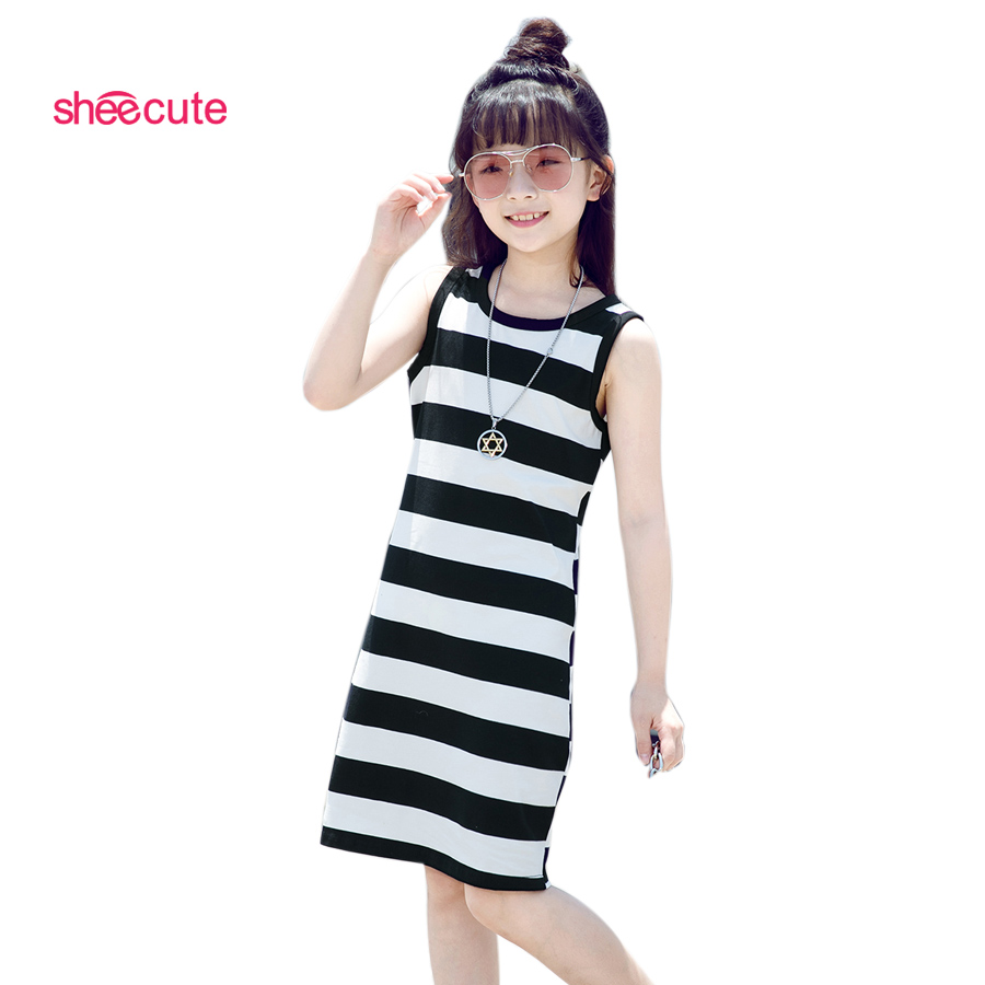 SheeCute New Arrival Striped Girls Dress Kids Casual Ärmlös En Line Klänning Barn Knä Längd Klänning För 3-12Y SDS659