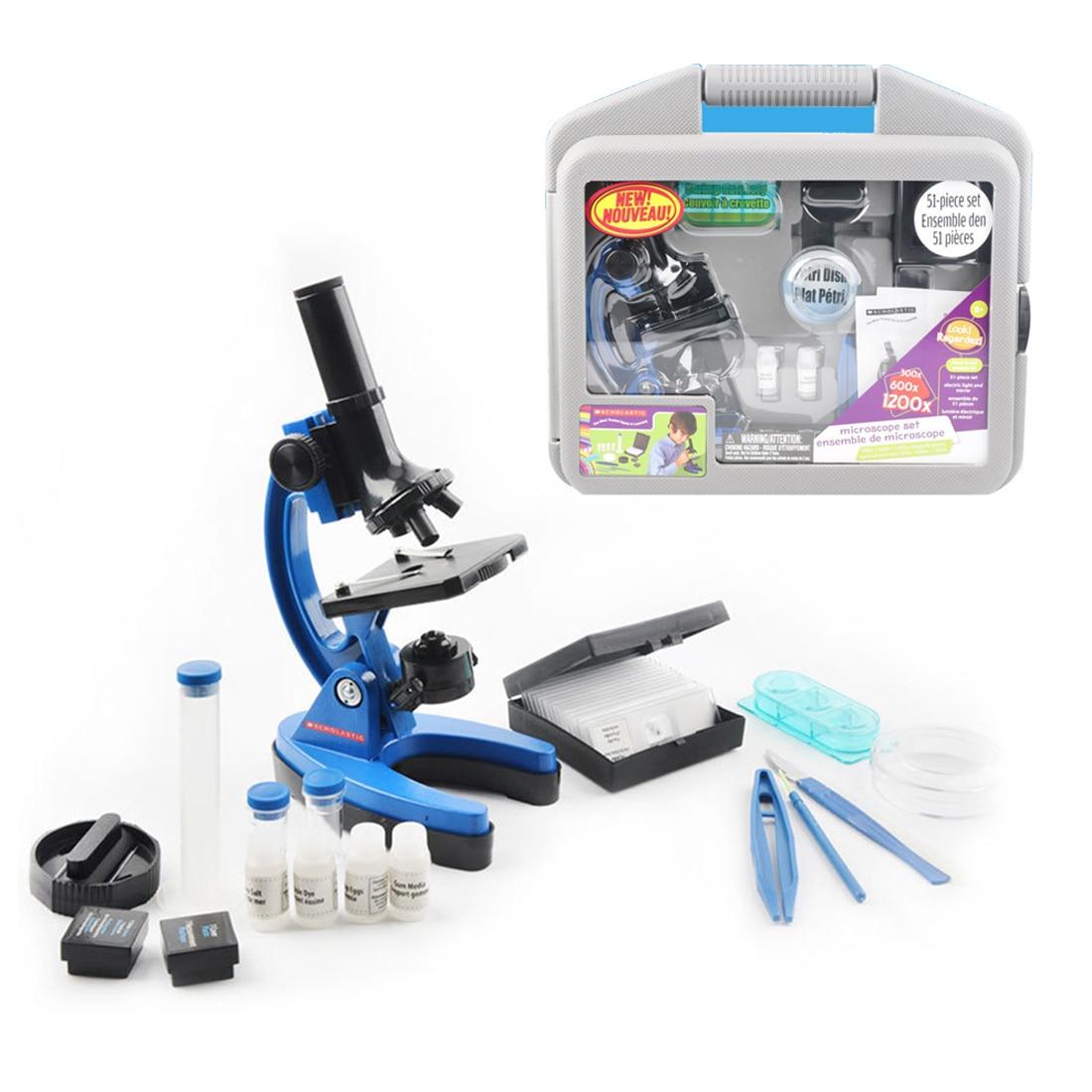 Durable des Élèves de Laboratoire 1200 Fois Enfants Métal Microscope Outil Kit Ensemble Enfants L'apprentissage Précoce de L'éducation La Science Jouets cadeau