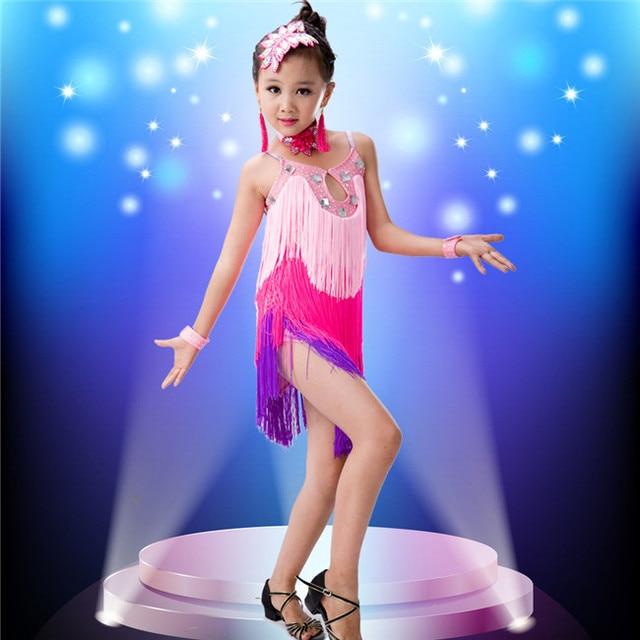 54c122b5b Fringe Latin Dance Competition Sexy Child latin Dance Dress for Girls Samba  Salsa Costumes for Kids