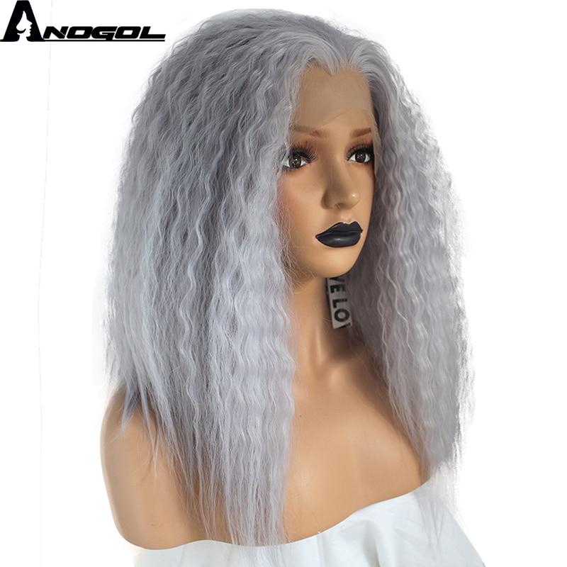 Anogol High Temperature Fiber Deep Peruca Cabelo Medium Water Wave Hair Wigs Purple Synthetic Lace Front